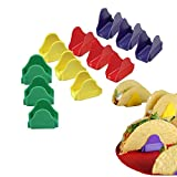 SIPLIV set of 12 (4 colors) Plastic Taco Holders Taco Stand Burrito Stand for Hard or Soft Shell Tacos