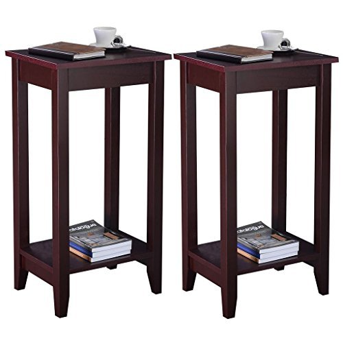 CHSGJY Set of 2 Tall End Table Coffee Stand Night Side Accent Furniture Brown Home Decor by CHSGJY
