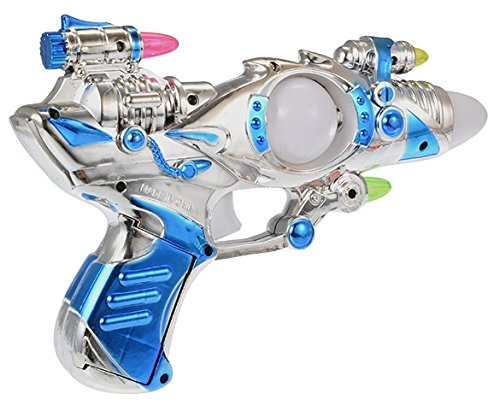 BELLE-LILI Kids Super Shining Laser Space Gun With LED Light and Sound,Light-Up Blaster Toy,valentines toys for boys( Colors may vary )