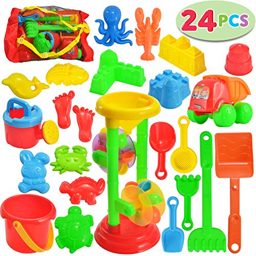 - JOYIN 24 Pcs Beach Sand Toys Set Includes Sand Water Wheel, Sandbox Vehicle, Sand Molds, Bucket, Sand Shovel Tool Kits, Sand Toys for Toddlers Kids Outdoor Play (1 Bonus Mesh Bag Included)
