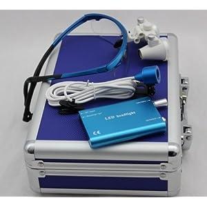3.5x 420mm Surgical Binocular Loupes HeadLight Blue Aluminum Box 6