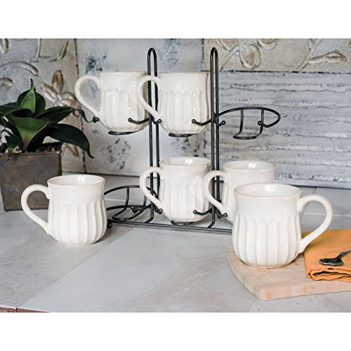 Fluted Stoneware - Stoneware Fluted Mug Set of 6 20-Ounce Mugs with Display Stand (Cream)