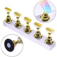 Silvermoon City Nail Tips Practice Display Stand Magnetic Nail Holder Acrylic Base Professional Nail Art DIY Tools for Art Salon DIY and Training Finger Practice Manicure (Gold)