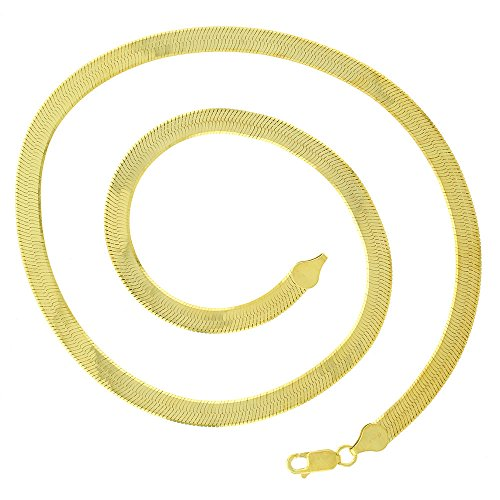 14k Gold Herringbone Chain Necklace (6mm Gold herringbone Chain Life Time Warranty,made in USA,30x thicker gold ,tarnish resistant 24,30inch (24))