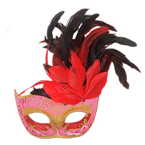 Pretty Woman Red Opera Dress Costume (coolcoo2 Party Venetian Pretty Evening Prom Masquerade Feather Mask (Red))