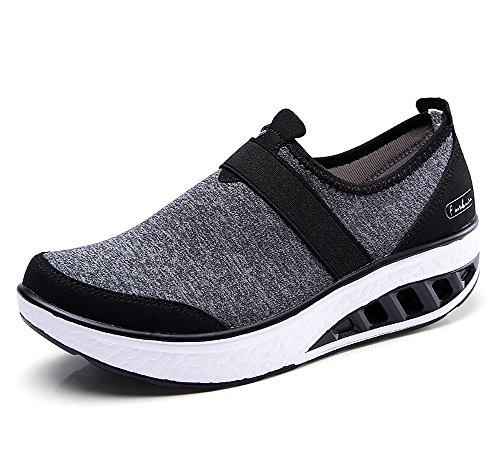 Plataforma Adelgazar Zapatos Gris Mujer Caminar a Zapatos lovejin Oscuro Sneakers Fitness Transpirable Deporte Cu Sneakers q1gU5AA8yO