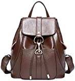 BOYATU Real Leather Backpacks Purse for Women Ladies Fashion Travel Shoulder Bag (Coffee Brown)