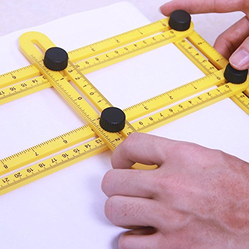 Multi Angle Measuring Ruler Adjustable for All Angles Shapes Ideal Yellow Measuring Tool for Woodworking, Crafters, Construction Workers, Carpenters or Engineers CZ01 (Yellow)