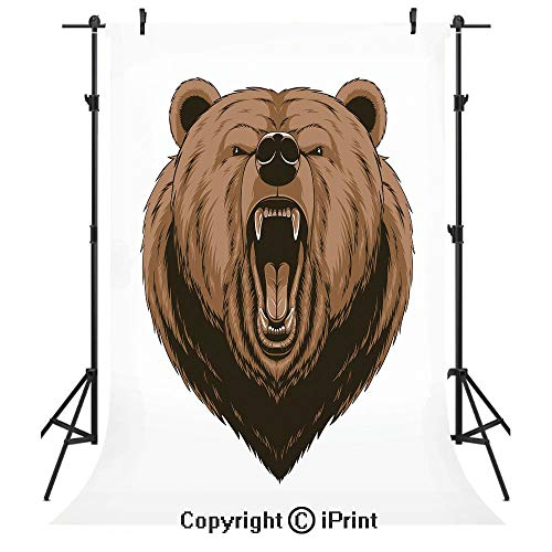 Bear Photography Backdrops,Angry Scary Face Mascot Head Powerful Vicious Beast Cartoon Mascot with Fangs,Birthday Party Seamless Photo Studio Booth Background Banner 3x5ft,Caramel Dark Brown