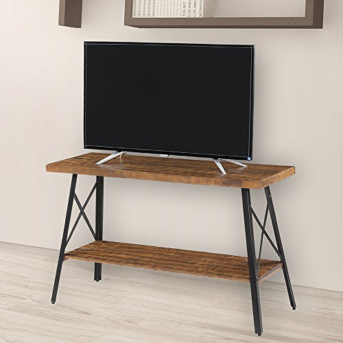 "Olee Sleep 48"" Solid Wood & Dura Metal Legs Sofa Table/TV stand/End Table/Side Table/Accent Table/Office Table/Computer Table/Dining Table/Natural Wood Top, Rustic Brown"