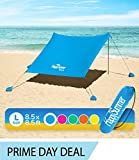 HappySummer Beach Tent with sandbag Anchors-The Portable, Lightweight, 100% Lycra SunShelter with UV Protection. The Perfect Sunshade Canopy for The Entire Family (Blue Royal, Large)