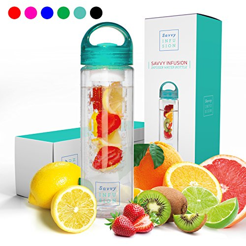 Savvy Infusion Water Bottles - 24 or 32 Ounce Fruit Infuser Bottle - Featuring Unique Leak Proof Silicone Sealed Cap with Handle - Great Gifts for (Teacher Birthday)