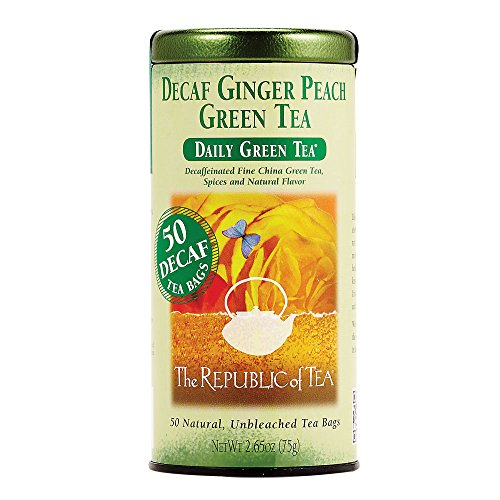 The Republic of Tea Decaf Ginger Peach Green Tea, Spicy Ginger Tea Gourmet Blend (50 Tea Bags)