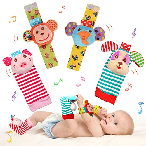 SSK Soft Baby Wrist Rattle Foot Finder Socks Set,Cotton and Plush Stuffed Infant Toys,Birthday Holiday Birth Present for Newborn Boy Girl 0/3/4/6/7/8/9/12/18 Months Kids Toddler,4 Cute Animals