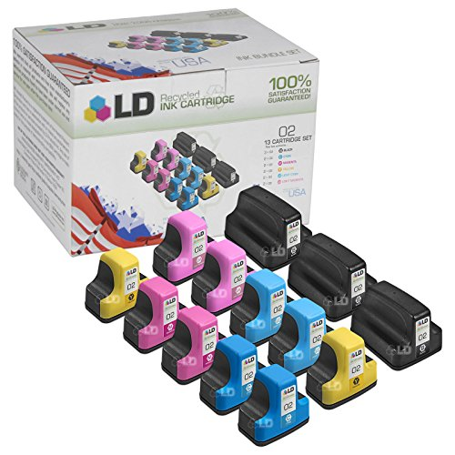 LD © Remanufactured Bulk Set of 13 Replacement Ink Cartridges for Hewlett Packard (HP 02)