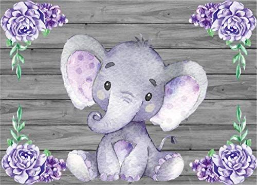 Laeacco Cute Purple Elephant Backdrops 7x5ft Polyester Photography Background Wooden Texture Wall with Purple Flowers Baby Shower Girls Baby Birthday Party Decoration Backdrops -