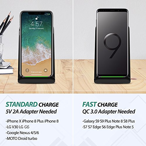 Wireless Charger, Seneo Qi Certified 10W Fast Wireless Charging Pad Stand for Galaxy S9/S9+ Note 8/5 S8/S8+ S7/S7 Edge S6 Edge+, Standard Qi Wireless Charging Stand for iPhoneX/8/8+ (NO AC Adapter) by Seneo (Image #1)