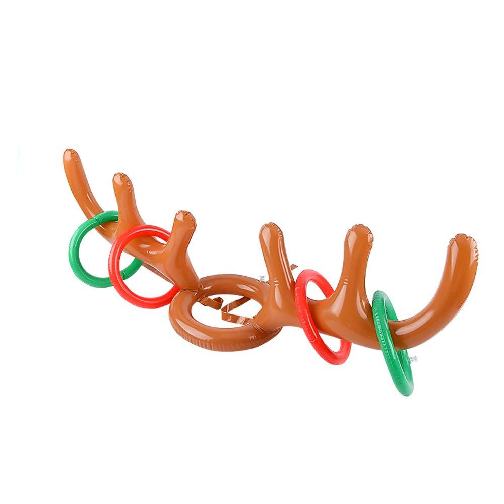 Goolsky Juego Inflable de Lanzamiento de Anillo de Asta de Reno de Asta de Alce Inflable para Suministros de Fiesta de Navidad Juguete de Juego de Destino de Navidad