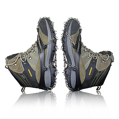 Traction Cleats 10 Teeth Universal Crampon Anti Slip Ice Snow Cleats Shoe Boot Grips Spikes Grips Cleats For Winter Walking Fishing Hiking Climbing Jogging (BLACK) Catwalk Chain