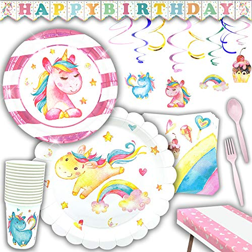 Praity Unicorn Party Supplies Pack | Serves 16 Guests | Disposable Paper Plates, Napkins, Cutlery & Cups | Birthday Banner, Swirly Decorations & Table Cloth for Girls | 145 Pieces