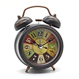 Bedside Alarm Clock with Nightlight, Cuitan Vintage Silent Non-ticking Table Twin Bell Wake Up Alarm Clock for Students/Children/Office Workers/Travelers, Battery Operated (Battery Is Not Included)