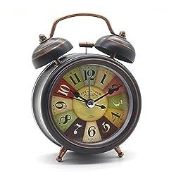 Junboys Classic Retro Alarm Clock, Bedside Non Ticking Silent Quartz Loud Twin Bell Alarm Clock, Vintage Warm Light Nightlight Clock Bedrooms Wake Up, Battery Operated, Decoration.