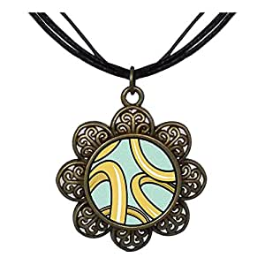 Chicforest Bronze Retro Style Five Golden Rings Photo Storybook Sun Flower Pendant