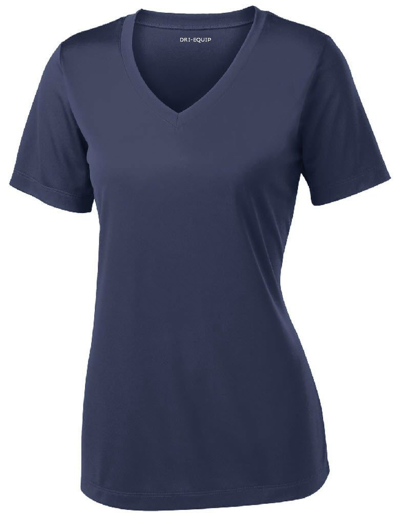 Women's Short Sleeve Moisture Wicking Athletic Shirt-Navy-XS by Joe's USA