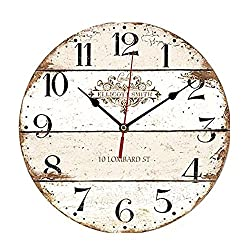 ChezMax 12 Vintage European Creative Frameless Wooden Electronic Wall Clock of French Country Tuscan Style DIY Assembling Clock