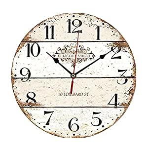 """ChezMax 12"""" Vintage European Creative Frameless Wooden Electronic Wall Clock of French Country Tuscan Style DIY Assembling Clock"""