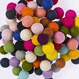 Feltfriend 100 Pieces %100 Wool Felt Balls, Diameter 20 mm : 0.78 inch (Assorted Colors)