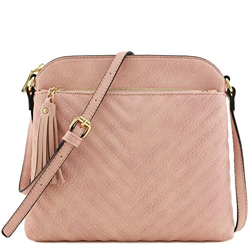 Chevron Quilted Medium Crossbody Bag with Tassel Accent (Dusty Pink) -
