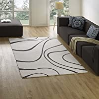 Modway Therese Abstract Swirl 5x8 Area Rug Contemporary Design In Ivory and Charcoal