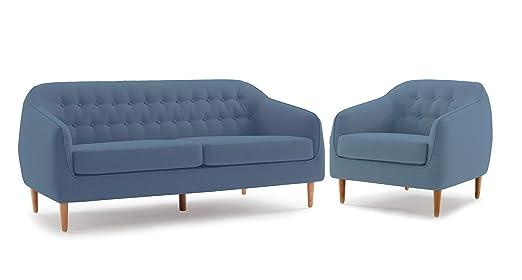 Meubletmoi Erika - Juego de sofá de 3 plazas y sillón de ...