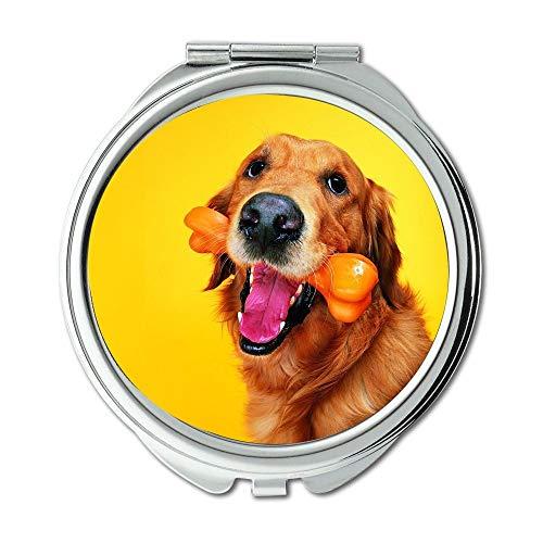 Mirror,Small Mirror,Happy English Bulldog Puppy dog and cat,pocket mirror,1 X 2X Magnifying