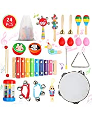 Ucradle 24PCS Musical Instruments, Kids Baby Musical Instruments Set Toy Wooden Musical Instruments Education Percussion Toys Gift Xylophone Rhythm Band Set for Babies Toddlers