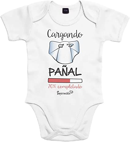 SUPERMOLON Body bebé algodón cargando pañal 3 meses Blanco Manga corta: Amazon.es: Bebé