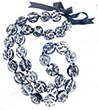 Hawaiian Lei Necklace of Black and White Marble Kukui Nuts