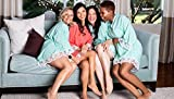 Mint Cotton Bridesmaid Robes With White Lace Trim
