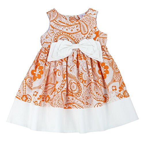 THE SILLY SISSY - Toddlers and Girls Bow-TERFLY Dress | Pandora Peterson's Paisley in Orange Cream Outline -