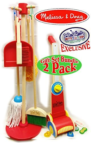 Melissa & Doug Wooden Let's Play House! Dust, Sweep, Mop & Vacuum Up Cleaning Playsets Exclusive ''Matty's Toy Stop'' Deluxe Gift Set Bundle - 2 Pack by Melissa & Doug