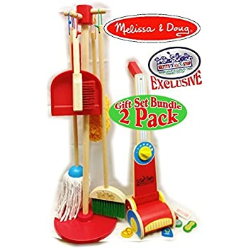 Mop Sweep Pretend Play Set Let/'s Play House 6-piece, Kid-Sized with Housekeeping Broom, Mop, Duster and Organizing Stand for Skill- and Confidence-Building Dust Renewed Melissa /& Doug