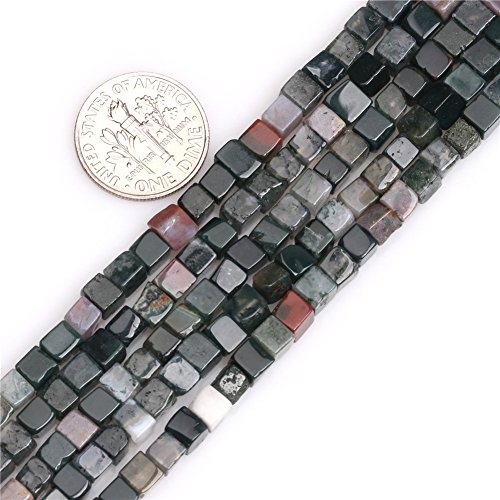 Indian Agate Beads for Jewelry Making Natural Gemstone Semi Precious 4mm Square Cube 15