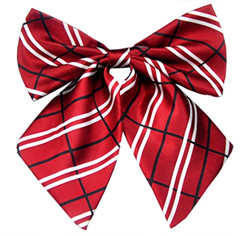 (Women Japanese School Uniform Embroidery Bowties (one size, Red Plaid) CA114-8 )