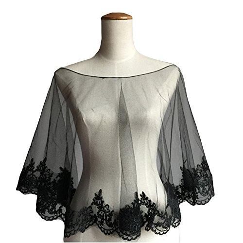 Dobelove Women's Wedding Cape Evening Wrap Shoulder Covers Lace Edge (Black) by Dobelove