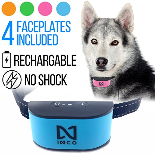 INCO [2018 New Chip Upgrade] NO BARK NO SHOCK NO SHARP PRONGS Humane Rechargeable & Water Resistant Dog Collar - Extremely Durable & Effective - Sound & Vibration - 7 Sensitivity