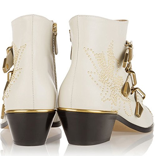 Women's Rivets Boots Boot Buckle Ankle Shoes Boots Studded Low Heels Women Metal Leather Comfity for dYtYwq