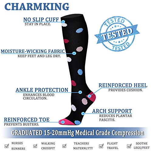 215759c0a0 ... CHARMKING Compression Socks 15-20 mmHg is BEST Graduated Athletic &  Medical for Men ...