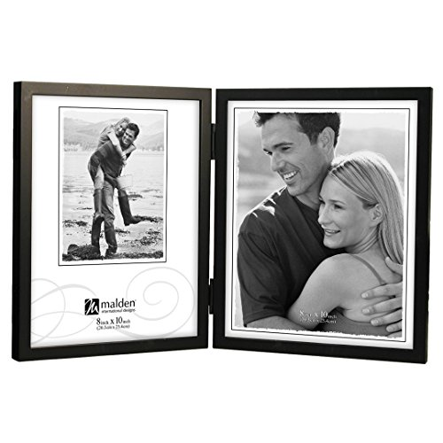 (Malden International Designs Black Concept Wood Picture Frame, Double Vertical, 2-8x10, Black)