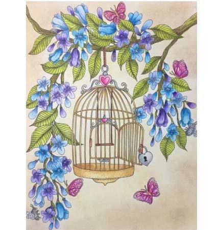 Diy diamante pintura 5D flores pájaro jaula diamante bordado punto ...